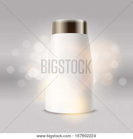 Plastic tube advertising vector template. Cream bottle template for brand logo and shiny background
