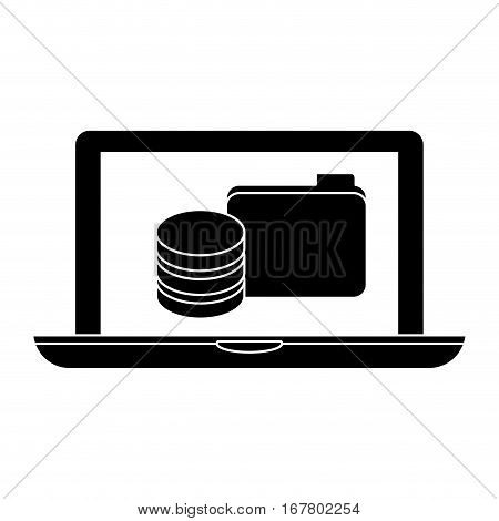 black computer web hosting icon design, vector illustration