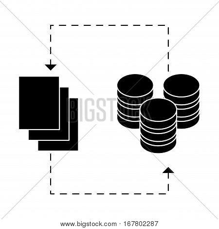black distributed database icon image design, vector illustration