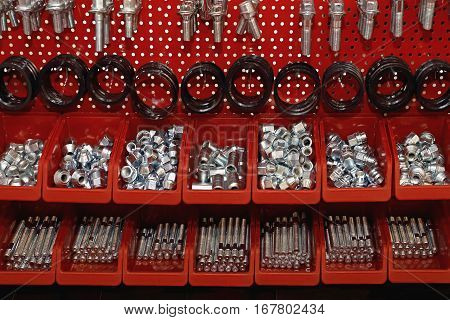 Wheel Studs and Bolts in Red Shelf