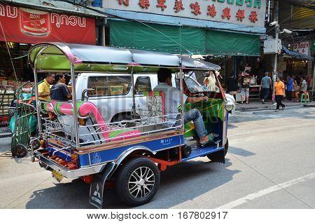 Tuk-tuk Taxi Near Market In Chinatown, Bangkok