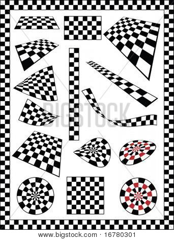 Checker, Race Flag, Chessboard, Dart board various designs, frame