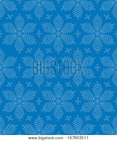 Flourish Snowflakes Seamless Winter Pattern. Linear tileable vector background.