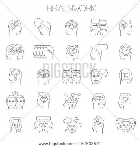 Thin line vector brainstorming business icon set. Flat design intellectual teamwork and creativity  symbols collection  on white background. Lines only, easy to edit line weight