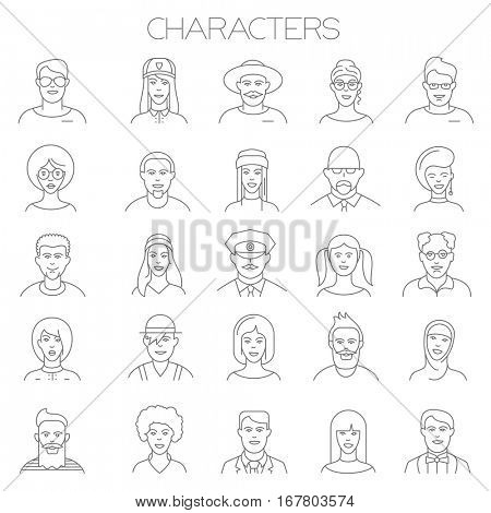 Thin line vector online people icon set. Flat design characters, professions, faces and avatar symbols collection  on white background. Lines only, easy to edit line weight
