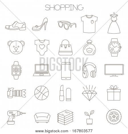 Thin line vector online store sopping icon set. Flat design retail and shopping symbols collection  on white background. Lines only, easy to edit line weight