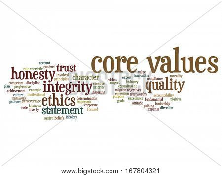 Vector conceptual core values integrity ethics abstract concept word cloud isolated on background metaphor to honesty, quality trust, statement, character, important, perseverance, respect trustworthy