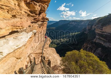 Hiking in Blue Mountain Australia. Woman doing Wentworth Falls hiking track enjoying the view