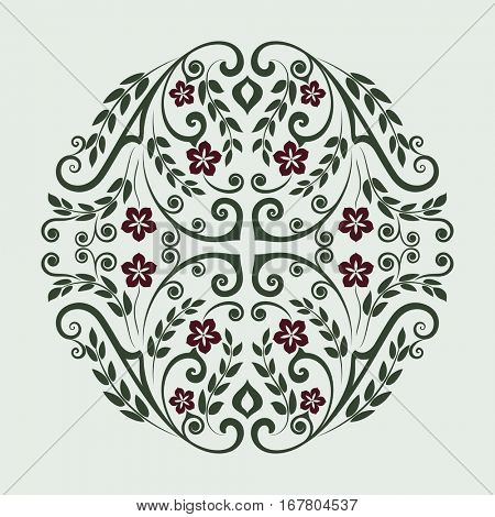 Abstract green floral round design element vector illustration.