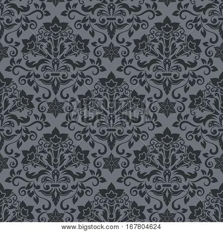 Dark grey and black damask vintage wallpaper pattern vector illustration.