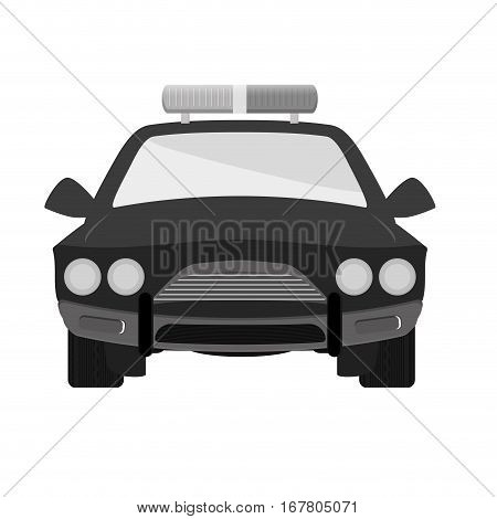 grayscale car police icon image, vector illustration design