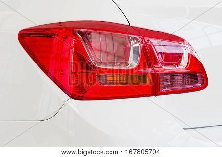 Close-up of car tail light on a sedan