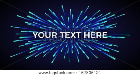 Vector light explosion. Cosmic rays on dark background. Text placeholder. Beautiful magic backdrop for your poster or web design.