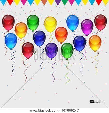 Birthday party vector background - colorful festive balloons, confetti, ribbons flying for celebrations card in isolated white background with space for you text.