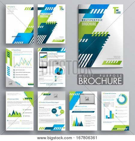 Multi Purpose Eight Pages Brochure set with different statistical infographic elements for Business Annual Reports, Cover Design and Presentation.
