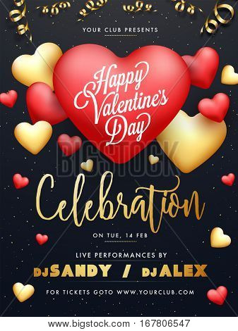 Elegant Party Celebration Flyer, Banner, Pamphlet or Invitation with glossy Hearts for Happy Valentine's Day.