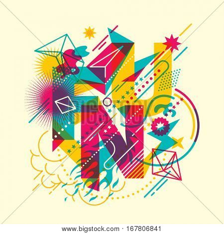 Colorful abstract style fun background, with composition made of various shapes, objects and typography. Vector illustration.