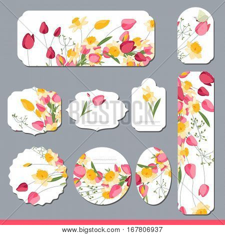 Floral spring templates with cute bunches of tulips and daffodils. For romantic and easter design, announcements, greeting cards, posters, advertisement.