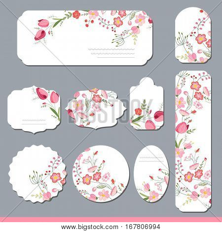 Floral spring templates with cute bunches of different flowers. For romantic and easter design, announcements, greeting cards, posters, advertisement.