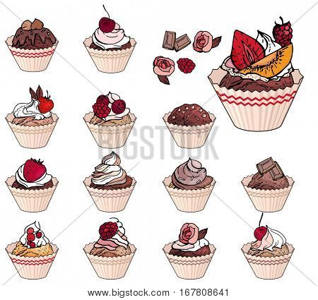 Set with sweet desserts. Collection of cupcakes with fruits, berries and chocolate. Objects isolated on white background. Red, pink and brown color.
