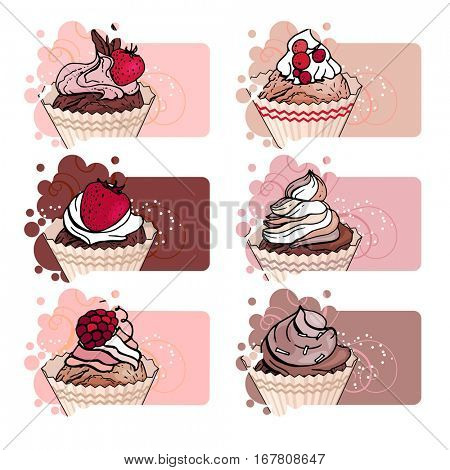 Set with different banners with sweet capcakes. For restaurant and cafe advertisement. Brown, beige and red color
