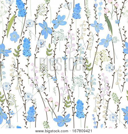 Seamless spring pattern with stylized cute blue flowers.  Endless texture for your design, greeting cards, announcements, posters.