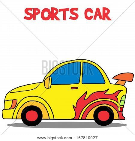 Yellow sport car vector illustartion collection stock