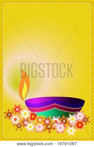 Diya, Deepak (oil Lamp) Ornamental with flower
