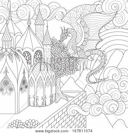 Beautiful dragon flying above cathedral for adult coloring book pages