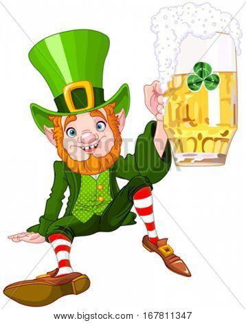 Illustration of a cute drank leprechaun