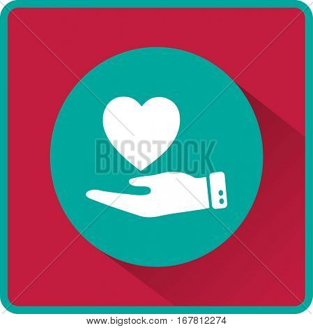 Flat icon. Heart on hand.