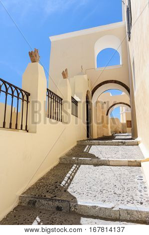 Typical narrow passage with steps in Fira, Santorini, Greece