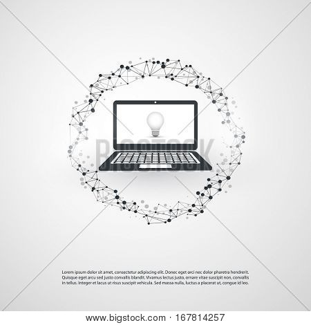 Abstract Cloud Computing and Network Connections Concept Design with Laptop Computer, Wireless Mobile Device, Transparent Geometric Mesh - Illustration in Editable Vector Format