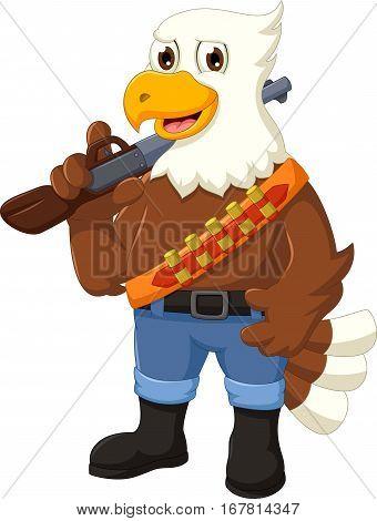 funny eagle cartoon holding rifle for you design