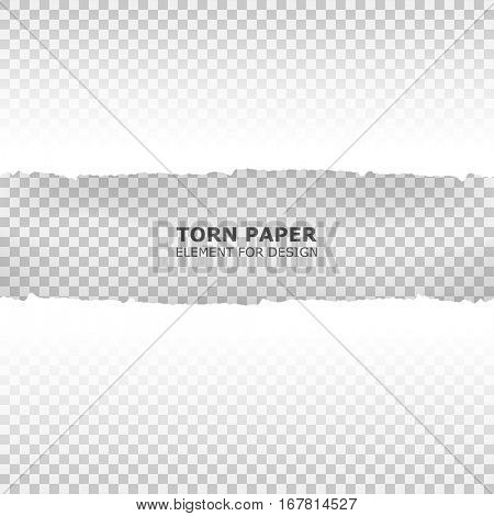 Seamless ripped paper and transparent background with space for text. Torn paper element for design vector illustration