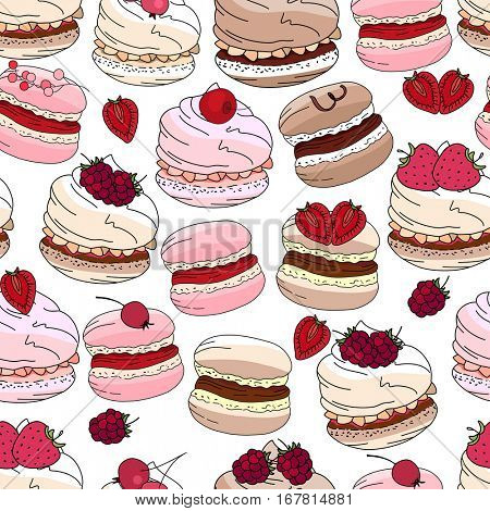 Seamless pattern with sweet desserts. Merengue, macaroons and cream. Endless pattern, white background. Beige, pink and brown color.