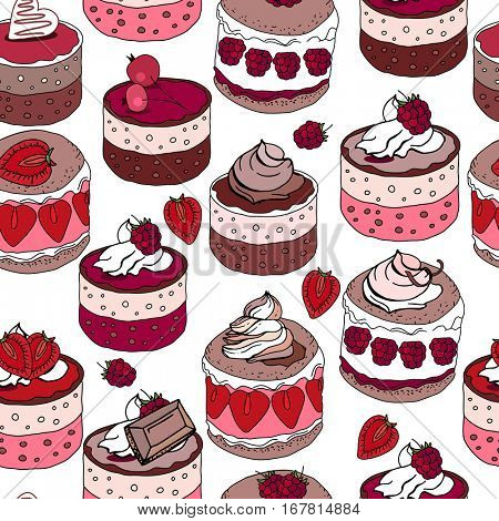 Seamless pattern with sweet desserts. Pastry, fruits, berries,chocolate and cream. Endless pattern, white background. Red, pink and brown color.