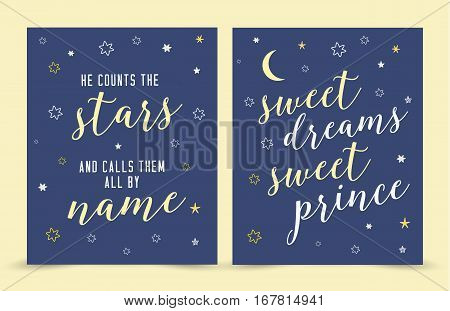 He Counts the Stars and Calls them By Name; sweet dreams sweet print scripture Verse Nursery Art Print Vector Art Printable Set with hand-drawn moon and stars on blue background