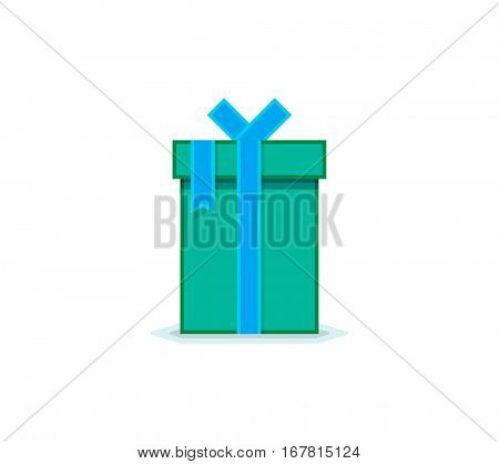 Flat icon of gift box with ribbon and bow. Vector illustration