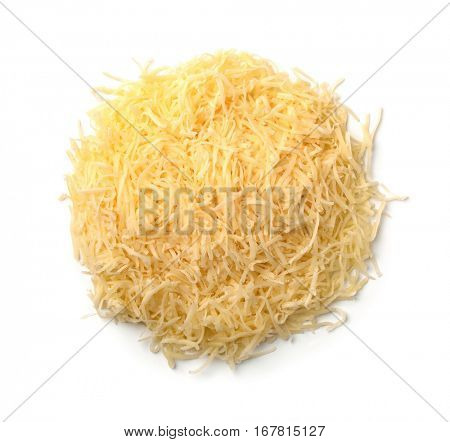 Top view of grated cheese isolated on a white