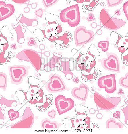 Baby shower seamless pattern with cute rabbit, baby cart, socks and love on polka dot background suitable for baby shower wallpaper, fabric, and scrap paper