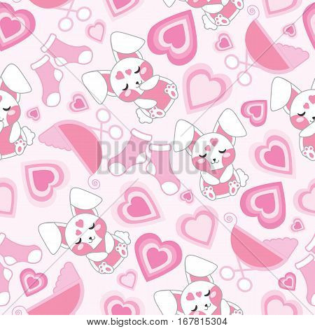 Baby shower seamless pattern with cute rabbit, baby cart, socks and love on pink background suitable for baby shower wallpaper, fabric, and scrap paper