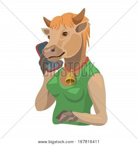 Cow talking on a mobile phone to make a screensaver on a mobile phone who is calling you laugh your secret