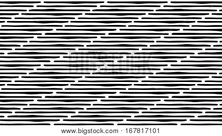 Abstract hand draw seamless pattern with lines. Black stripes on white background. eps10