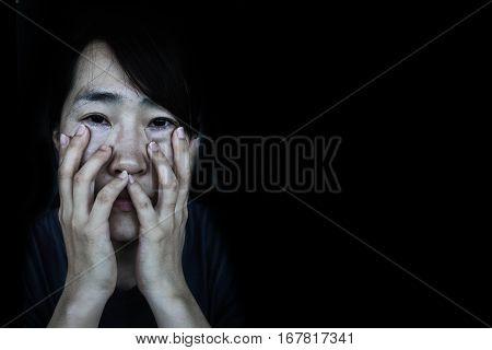 Depress Woman With Tear On Black
