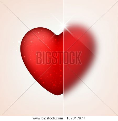 Valentine's pink love background with red heart. Vector illustration.