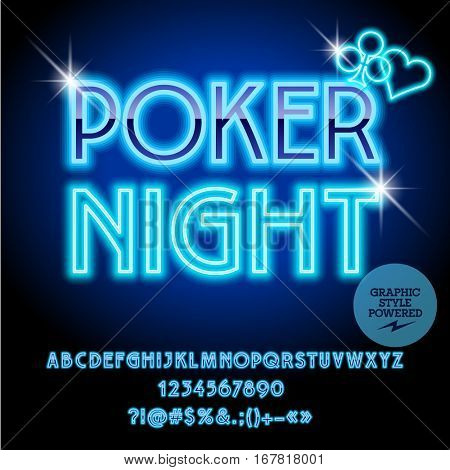 Vector casino neon icon Poker night. Set of letters, numbers and symbols. Contains graphic style.
