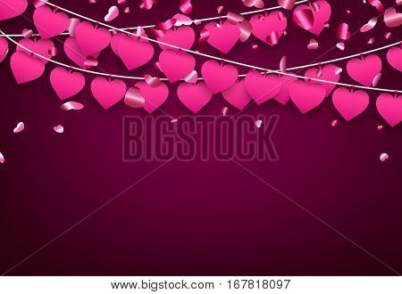 Pink love valentine's background with garland of hearts. Vector illustration.