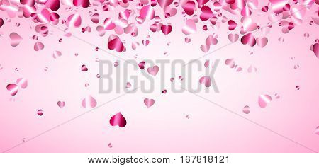 Love pink valentine's background with hearts. Vector illustration.