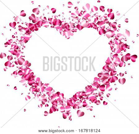 White love valentine's background with pink heart. Vector illustration.